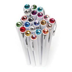 """Golyóstoll, fehér """"Magnetic"""", világos rózsaszín SWAROVSKI® kristállyal, 14cm, ART CRYSTELLA"""