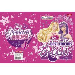 """Füzet, tűzött, A5, vonalas, 32 lap, 1. osztály, UNIPAP """"Barbie glitter"""""""