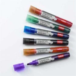 Táblamarker készlet, 1-3 mm, folyékonytintás, NOBO, 6 különböző szín (VN1419)